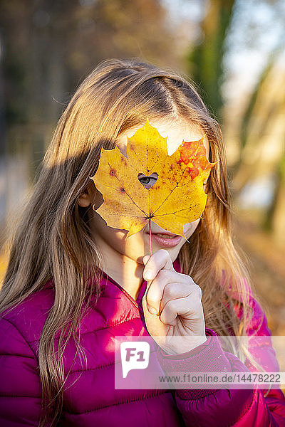 Portrait of girl looking through heart-shaped hole in autumn leaf