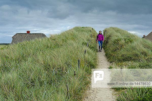 Dänemark  Jütland  Henne Strand  Frau zu Fuß in den Dünen