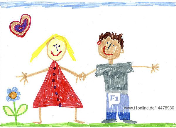 Kinderzeichnung eines glücklichen Paares