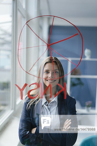 Junge Businessfrau zeichnet einen Kuchen-Cahart auf einen Glasschirm