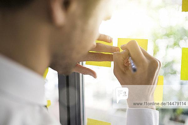 Businessman writing on yellow post-its on window
