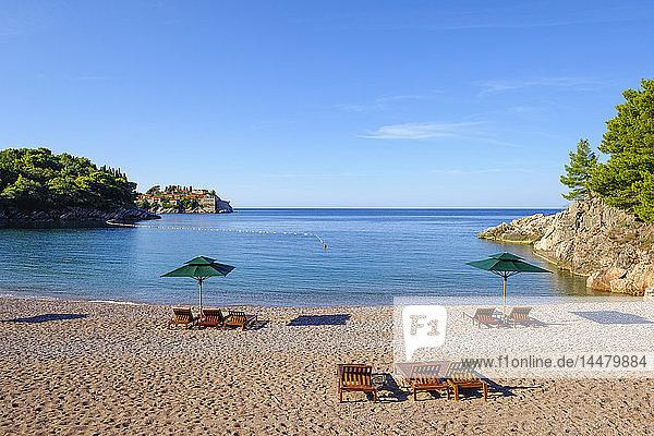 Montenegro  Adriatic Coast  near Budva  Milocer  Sveti Stefan Island