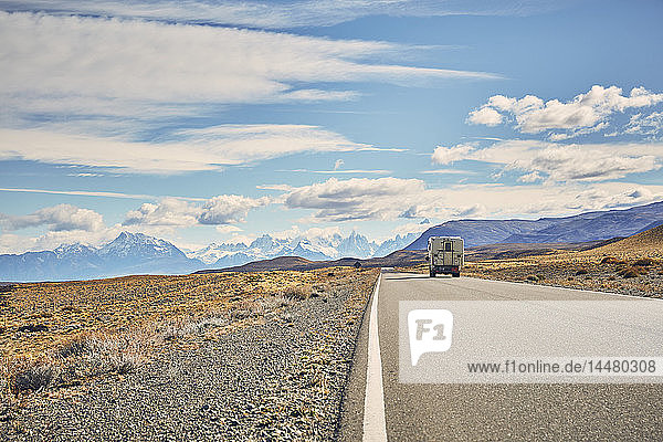 Argentina  Patagonia  El Chalten  camper on road towards Fitz Roy
