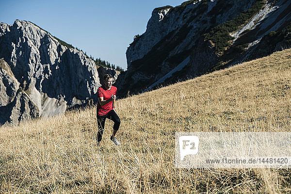 Österreich  Tirol  Mann läuft in den Bergen