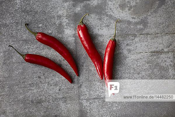 Rote Chilischoten auf grauem Hintergrund