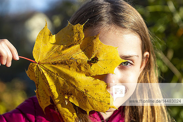 Portrait of smiling girl looking through hole in autumn leaf