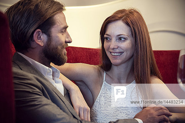 Couple sitting in hotel