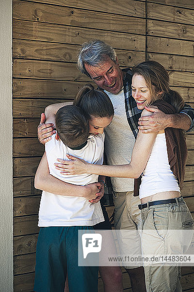 Family embracing each other