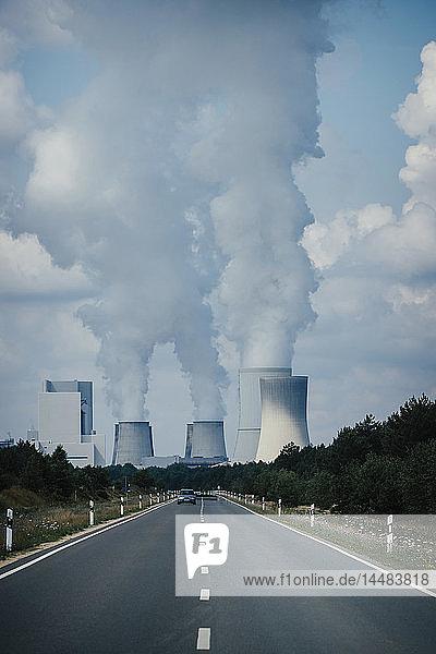 Smoke emitting from Boxberg Power Station smokestacks  Brandenburg  Germany