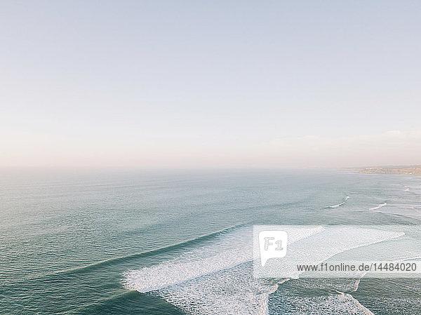 Scenic seascape view tranquil blue ocean  West Coast  Lisbon  Portugal
