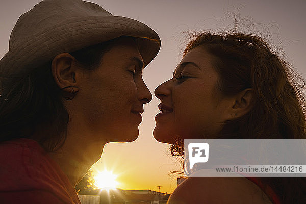 Affectionate couple kissing with sunset in background