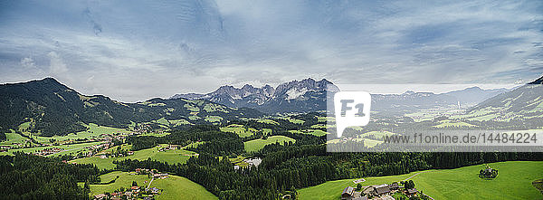 Drone point of view scenic  idyllic rolling green landscape  Kitzbuehel  Tyrol  Austria