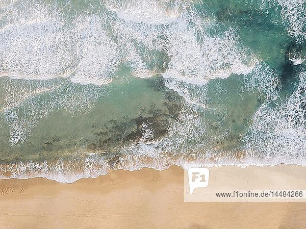 Aerial view from above ocean beach  West Coast  Lisbon  Portugal