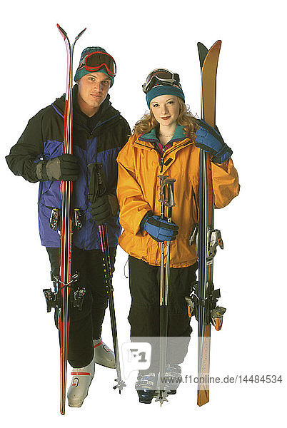 Couple with Downhill Ski Gear