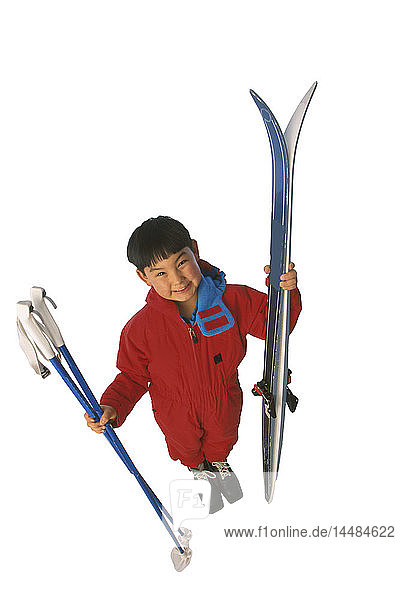 Native Boy with Cross-country Ski Gear