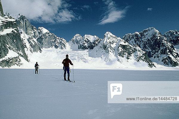 Cross Country Skiers Great Gorge Ruth Amphitheatre AK/nRuth Glacier Alaska Range