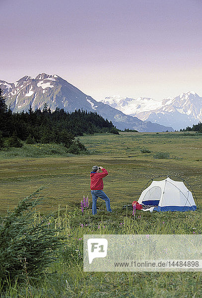 Man Viewing @ Tent Camp Chugach Mtns SC AK Summer