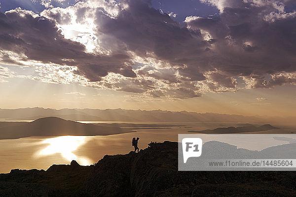 Hiker on Ridge @ Sunset Douglas Is SE AK Digital Summer Silhouette