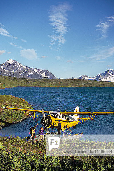 Hikers Leaving Floatplane Lost Lake KP Alaska Summer