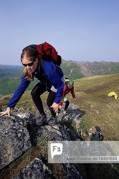 Women Hikers Near Summit Lake Hatcher Pass SC Alaska