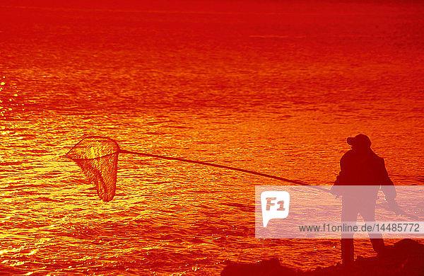 Man Hooligan Fishing Sunset Turnagain Arm SC Alaska