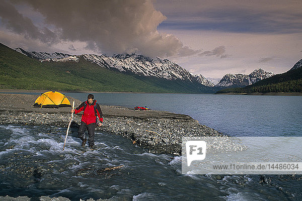 Kayakers Camping on Beach at Eklutna Lake SC Alaska Summer