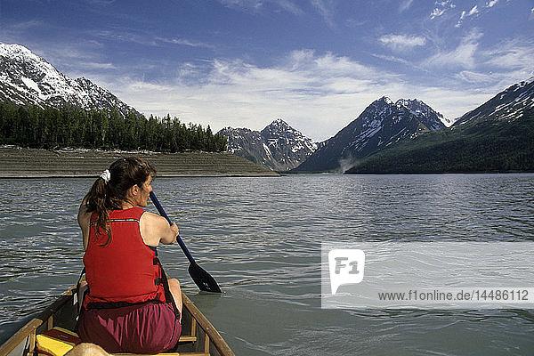 Canoeing on Eklutna Lake Chugach State Park SC Alaska summer scenic