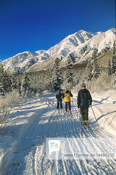 Women Skiing Near Sheep Mountain Lodge SC Alaska