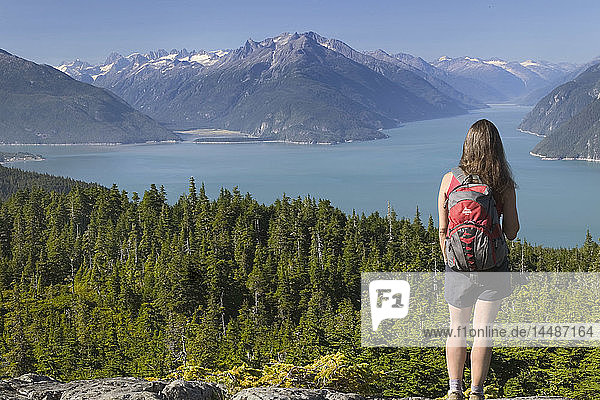 Hiker on Mt Riley Overlooks Chilkoot & Taiya Inlet AK SE Summer Tongass NF Coast Mountains