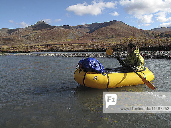 Woman packrafts down the Sanctuary River in Denali National Park  Interior Alaska  Autumn