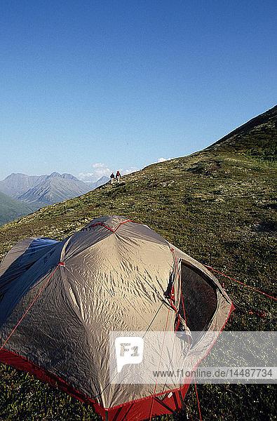 Senior Couple Walking Near Campsite Near Eagle River/nSC AK Chugach State Park