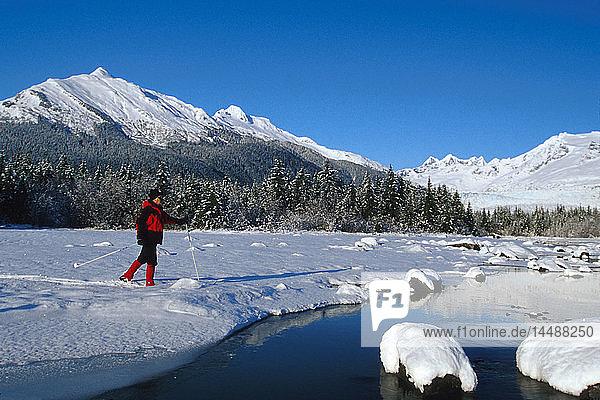 Man Cross Country Skiing Mendenhall Lake SE Winter