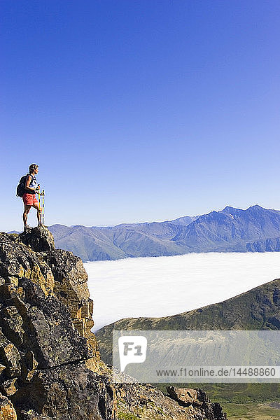 Female Hiking on Harp Mountain above Eagle River Valley in Chugach State Park Alaska Summer