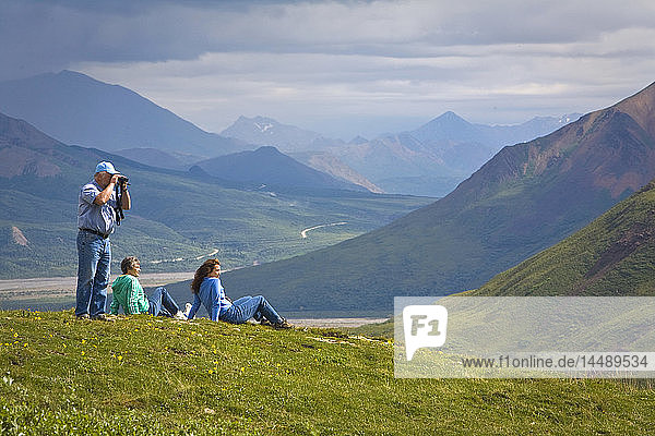 Mature couple and middle age woman hike on tundra in the Toklat river area of Denali National Park  Alaska