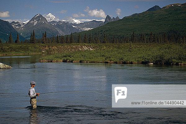 Man Flyfishing on Lake Creek SC Alaska Summer