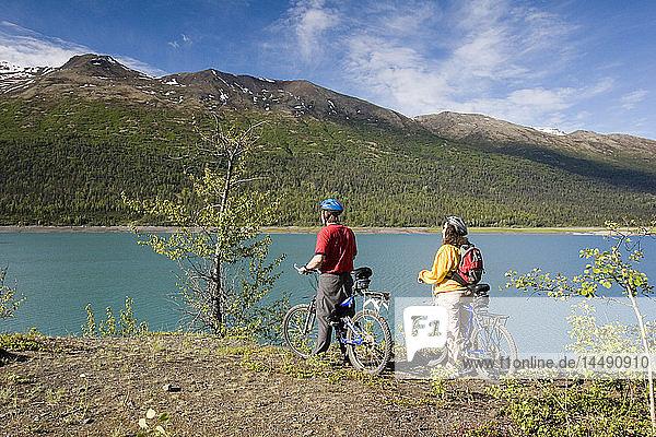 Mother & Son Take Break While Biking Eklutna Lake AK Chugach SP SC Summer Chugach Mtns