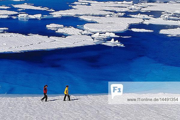 Women Hiking on Mendenhall Glacier Next To Melt Pond Southeast Alaska Summer
