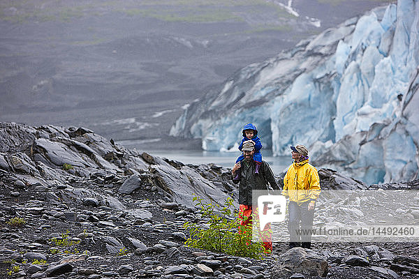 Family hiking at the Shoup Glacier overlook  Shoup Bay State Marine Park  Prince William Sound  Southcentral Alaska