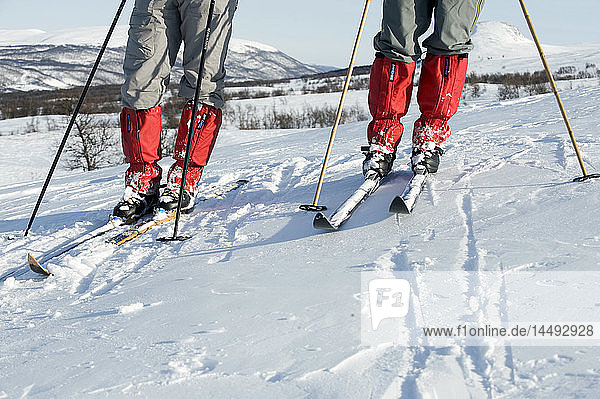 Two people skiing  low section
