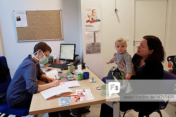 Reportage in a French Maternal and Child Protection centre in Chateaubriant  France. Consultation with a pediatrician.