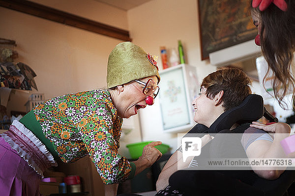 Reportage on two clowns who are part of the Hopiclowns association. They perform in a home for disabled adults in Geneva  Switzerland.