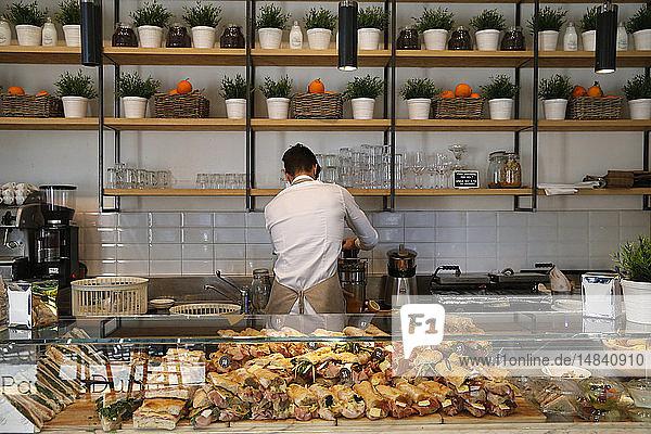 Sandwich shop in Milan.