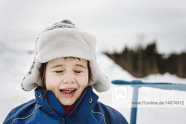 Smiling boy at winter