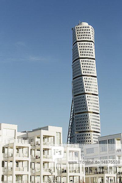 View of Turning Torso skyscraper  Malmo  Sweden