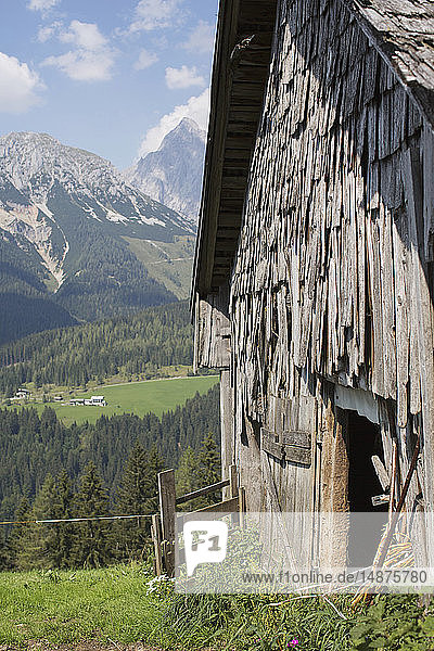 Old wooden barn in mountains