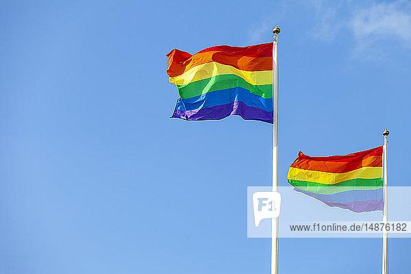 Rainbow flags against sky