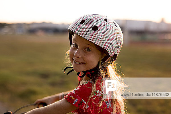 Portrait of cycling girl