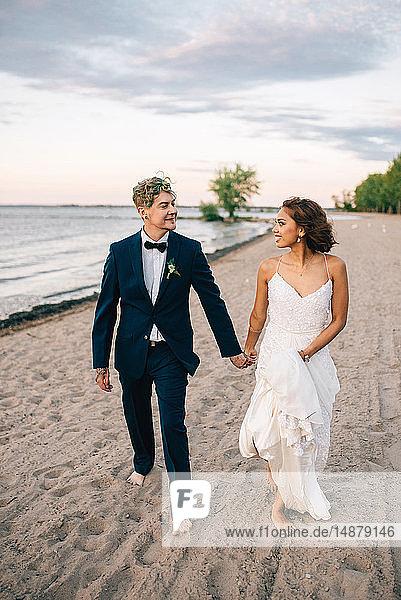 Romantische Braut und Bräutigam schlendern Hand in Hand am Seeufer  Ontariosee  Toronto  Kanada
