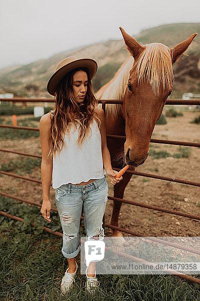Junge Frau mit Filzhut  die Karotte an Pferd verfüttert  Jalama  Kalifornien  USA