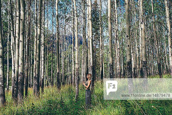 Frau macht Gebetspose im Wald  Banff  Kanada